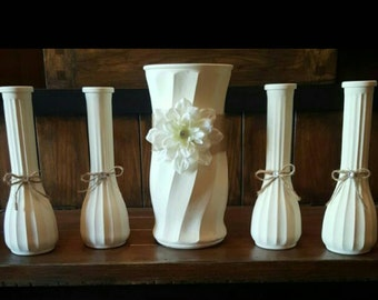 Chalk painted flower vases, wedding, gift, home decor, wedding decor, bud vase, flower vase,vase,chalk paint