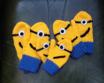 Hand knitted fun Minion Mittens for children from 2 years - 10 years. Toddler. Boys. Great gift.
