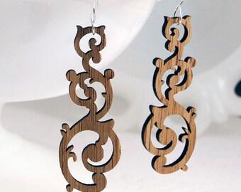 Swirl Earrings in Bamboo