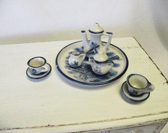 Miniature China Tea Set - Blue and White - Windmill Scene - Collectable Tea Set - Toy Play Set