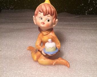 Vintage Celebrating Pixie Elf Figurine