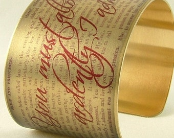 Mr Darcy Literary Quote - Perfect Romantic Gift For Her - Jane Austen Jewelry - Pride and Prejudice - Brass Cuff Bracelet - Literary Gifts