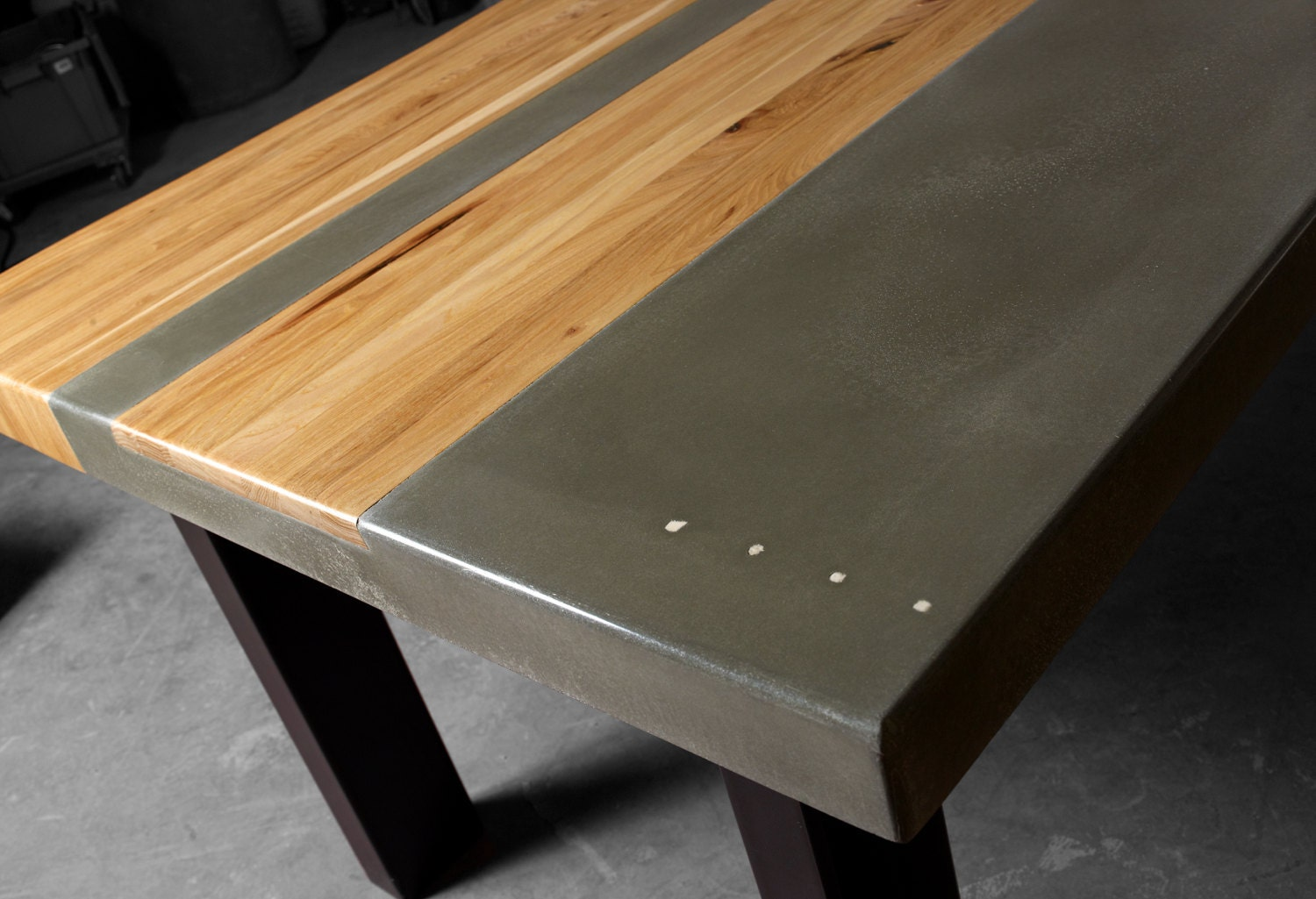 Concrete wood steel dining kitchen table for Steel dining table design