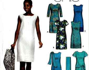Easy to Sew Sheath Dress Simplicity 9747 Sewing Pattern Sleeves Scarves Purses Totes Size 6 8 10 12 Uncut Factory Folds