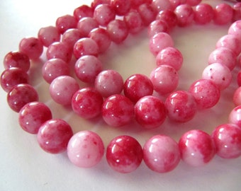 8mm JADE Beads in Pink and Red Shades, Dyed, Round, Smooth, Full Strand, 49 Pcs, Gemstones, Candy Jade, Mountain Jade