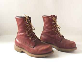 Vintage Men's Redwing Brown Leather Boots Size 9
