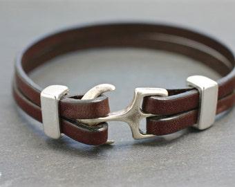 Anchor Bangle , Nautical Bracelet , Leather Bracelet , Gift For Sailor , Sea Bracelet , Mens Jewelry , Bracelet Under 50 , Gift For Him