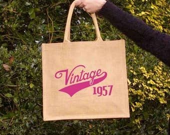 Vintage 1957 reusable shopping tote bag-  Large. Hand painted jute carrier bag. Burlap, hessian.  60th birthday gift.