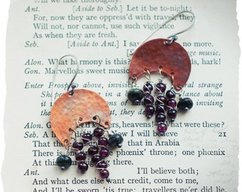 Garnet and Emerald gemstone earrings with hammered and flame oxidised copper crescents and sterling silver ear wires.