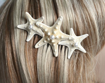 Handmade White Knobby Starfish & Pearl Comb, Destination or Beach Wedding, Bridal (Pearl-364)