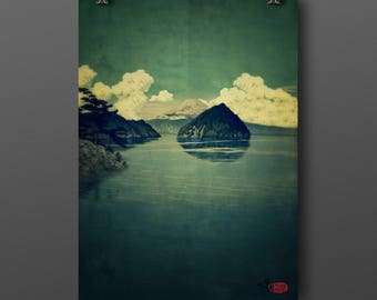 "Vintage Japanese Ukiyo-e Art Print signed Landscape Poster by Kijiermono ""Distant Blues"" Wall Home Decor"