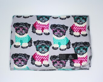 """Puppy Sweater Extra Large Receiving Blanket - 36"""" x 42"""""""