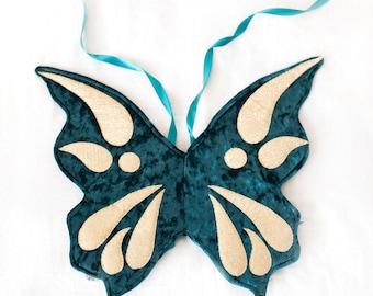 teal butterfly wings, velvet wings, costume wings, fairy wings