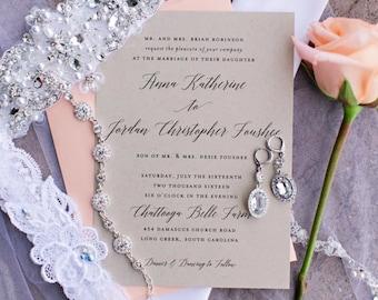 Calligraphy Wedding Invitation Printable | Printable Wedding Invitation, Rustic Wedding, Wedding Invite, Kraft Wedding Invitation