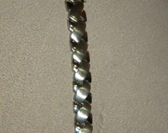 Father's Day, Men's Bracelet, Stainless Steel, X-Linked, Criss Cross Links. Biker Bracelet, Rocker Bracelet, Cool Men's Bracelet