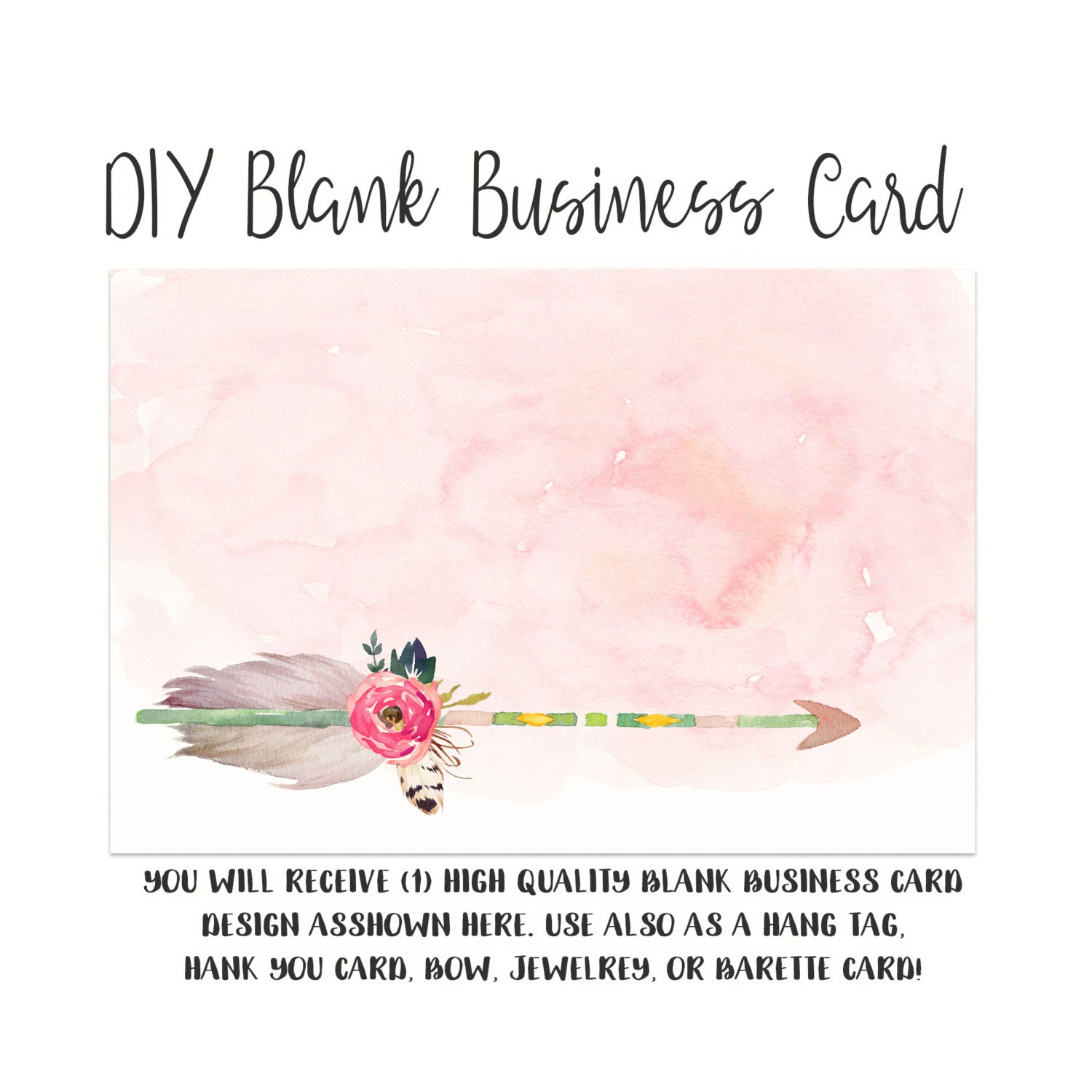 DIY Blank Business Card Template GIRLY ARROW Made to Match