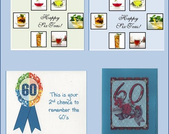 Handmade 60th Birthday Cards -- Milestone Card -  Free Shipping in USA