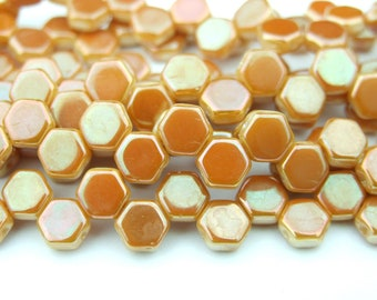 30x Czech Honeycomb Beads 6mm Hexagonal 2 Hole Chalk Apricot