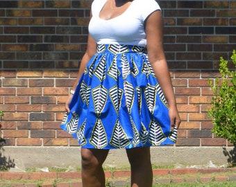 "Blue fishcales skirt waist 28"""