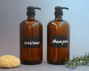 2 x 1 litre Amber Glass Bottle Soap Dispenser Pump with chalkboard labels