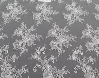 Ivory lace fabric, French lace, Chantilly lace, Wedding lace, Bridal lace, Evening dress lace, Lingerie lace, fabric by the yard SA7984