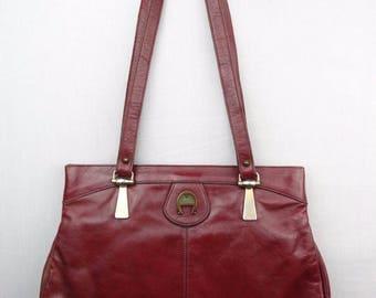 VINTAGE 90s Etienne Aigner Maroon Red Leather Purse Shoulder Bag Double Strap