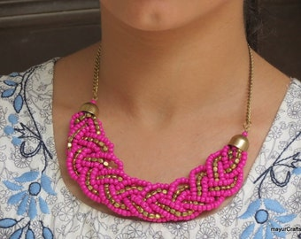 Fuchsia Necklace, Statement Necklace, Bib Necklace, Choker Necklace, Collar Necklace, Braid Necklace, Bead Necklace, Bridesmaid necklace