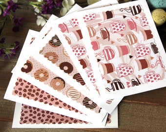 Handmade Set of 6 Note Cards, Coffee and Donuts, Pink and Brown, Blank Inside, Unique, One of a Kind