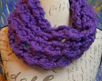 Chunky Purple Cowl-Sm