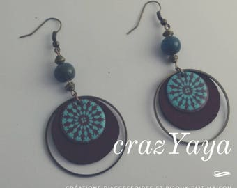 Leather and enamel earrings
