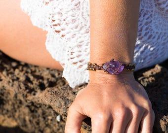 Amethyst Crystal Bracelet - Boho Gold