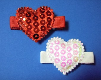 Sequin Hearts Hairclip - Set Of 2 - Red And White - For Infant Toddler Girl