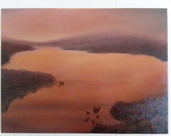 Duck Dawn, 18x24, Original Oil painting.  Signed by J. Dyson.
