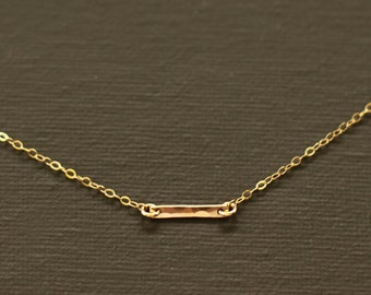 Small Gold Bar Necklace - Hand Hammered 14K Gold Filled Bar - SMALL