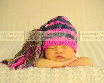 Newborn Girl Hat KNiT BaBY PHoTO PRoP Super Tassel BeANiE Hot Pink Charcoal Stripe Sage CHooSE CoLOR Stocking Cap CoMiNG HoME Chuckles Toque