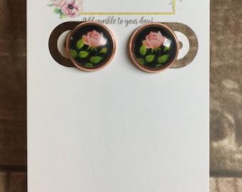 12mm Pink Rose Rose Gold Earrings