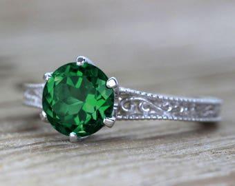 Vintage Engagement Ring, Filigree Engagement Ring, Antique Gemstone Engagement Ring, 2 Carat Engagement Ring, White Art Deco Engagement Ring