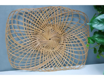 70's boho large bamboo wicker wall basket decor