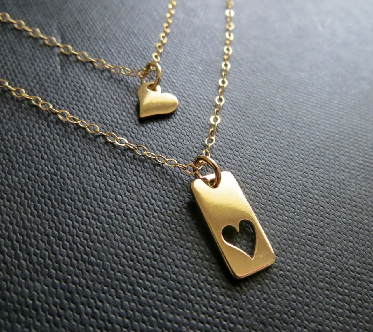 Mother daughter necklace gold heart cutout necklace mother zoom aloadofball Gallery