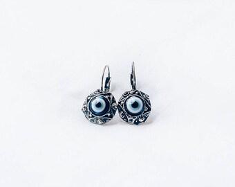Antique Evil Eye Earrings, Blue Evil Eye Antique style silver tone, Protective Bohemian Jewelry, Boho earring gift, Blue Evil Eye sterling