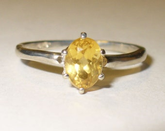 Natural Heliodor Ring -  Genuine Gemstone in Solid Sterling Silver - Size 8 - 1 Carat Mined from Earth Yellow Emerald