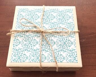 Turquoise & White Coasters