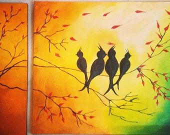 Love birds textured 3d painting