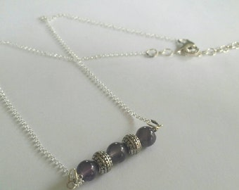 Simple Amethyst Bar Necklace