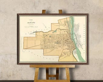Albany map - Old city map -  Albany vintage map print - Giclee reproduction