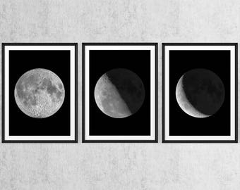 Moon set. Moon phases art, Large printable poster, Black and white wall decor