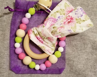 Pacifier clip and bunny ear teething ring