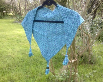 Aqua and blue triangle shawl with tassles