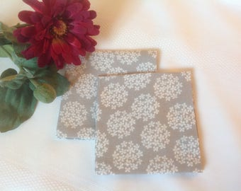 Grey White Eco Friendly Cotton Cloth Napkins, Appetizer Napkins, Cocktail Beverage Napkins - set of 4, 6 or 8