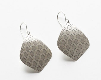 """Moroccan earrings with old world pattern embossed on geometric shapes cut out of recycled sterling silver sheet - """"Arches Earrings"""""""